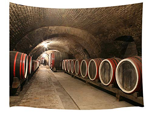 JAWO Underground Wine Cellar Tapestry, Wine Barrels Tunnel, Tapestry Wall Hanging, Wall Tapestry Dorm Living Room Bedroom, Wall Blanket Wall Decor Wall Art Home Decor