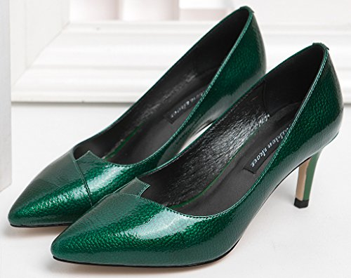 Calaier Slip Women Toe Stiletto Court 7CM Pointed Jtabf on Shoes Green 1wRrqOn61x