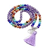 Jovivi Natural Amethyst Crystal Quartz Gemstones 7 Chakra Healing Crystals 108 Prayer Beads Mala Wrap Bracelet Necklace w/Tree of Life Tassel