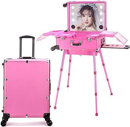 Estuche de tocador de maquillaje de peluquería 4 en 1 con altavoz Bluetooth Pantalla táctil Espejo iluminado Mesa de tren portátil Estación de maquillaje Vanity Cosmetic Trolley,Rosered: Amazon.es: Belleza