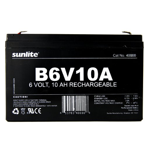 Sunlite 40000-SU B6V10A 10-Amp Hour Emergency Backup Battery, 6-volt