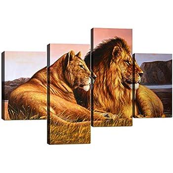 2adc7dabac078 Amazon.com: KALAWA Large Home Decor Lion Couple Wall Pictures Prints ...