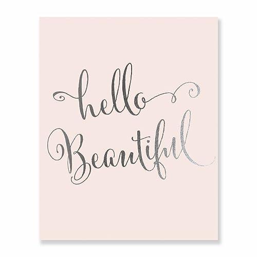 Amazon Com Hello Beautiful Blush Pink And Silver Foil Print Wall