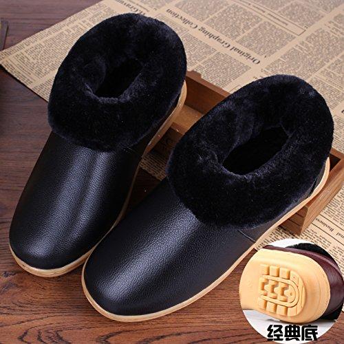 Restez Au Chaud Hiver Chaussures Imperméables À Boeuf Tendon Fond En Cuir Pantoufles De Coton Avec Des Chaussures Antidérapantes En Coton, 39, Bas Noir Classique