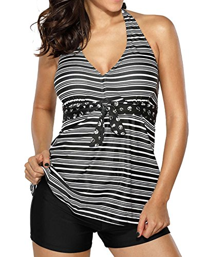 Blugibedramsh Womens Halterneck Striped Tankini Swimsuit with Boyshort Bottom Two Piece Bathing Suit Set Black ( 3XL (Black Two Piece Halter)