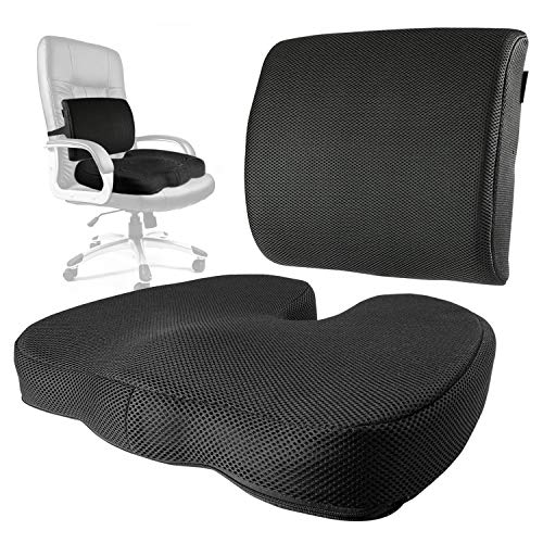 - Tailbone Cushion Coxis Pillow & Memory Foam Lumbar Support Seat Set - Portable & Adjustable Office, Gaming or Automobile Mesh Bundle for Sacral, Coccyx & Lower Back Pain Relief by CT