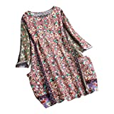 JOFOW Shirts Womens Plus Size Boho Flowers Floral Print Patchwork Cotton Linen Tops O Crew Neck 4/3 Long Sleeve Loose Blouses (2XL,Pink)