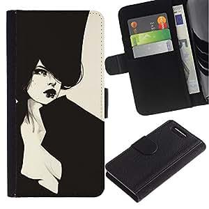 LASTONE PHONE CASE / Lujo Billetera de Cuero Caso del tirón Titular de la tarjeta Flip Carcasa Funda para Sony Xperia Z1 Compact D5503 / Sexy Haut Couture Vignette