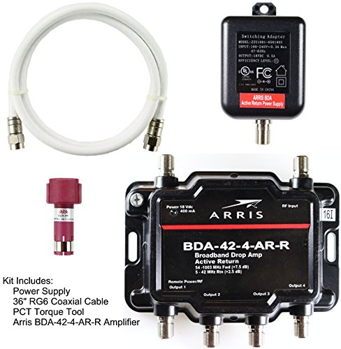 Arris 4-Port Cable, Modem, TV, OTA, Satellite HDTV Amplifier Splitter Signal Booster with Active Return And Coax Cable Package - cableTVamps