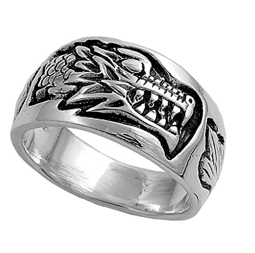 (CloseoutWarehouse Sterling Silver Dragon's Head Ring Size 6)