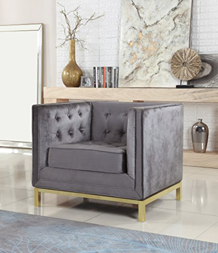 (Iconic Home Dafna Accent Club Chair Sleek Elegant Tufted Velvet Plush Cushion Brass Finished Stainless Steel Brushed Metal Frame, Modern Contemporary, Grey)