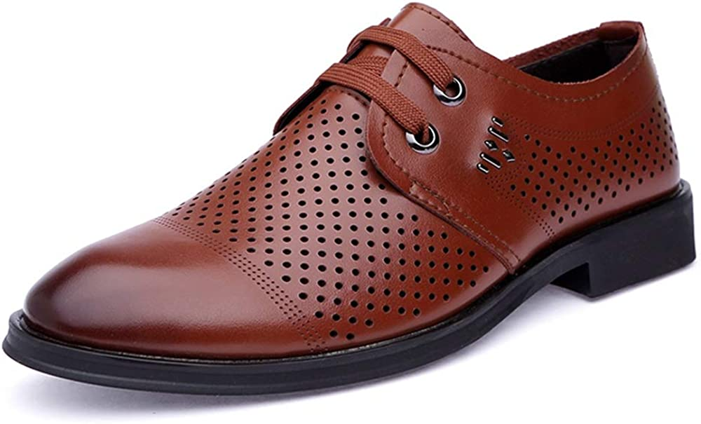 HYF Mens Oxford Oxford Casual Hollow Comfortable Leather Shoes Breathable Summer Style Formal Shoes Business Shoes for Men