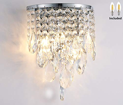 Amabao, 2-Light Chrome Finish Crystal LED Wall Light, Sconce Wall Lamp for Living Room, Bedroom, Hallway, 2 LED Bulbs Included