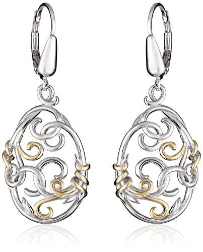 Yellow Sterling Two Tone Filigree Earrings