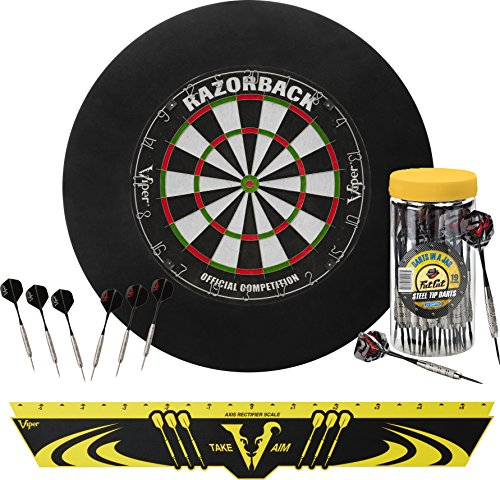 Viper Defender Backboard & Sisal/Bristle Steel Tip Dartboard Bundle: Elite Set (Razorback Dartboard,...