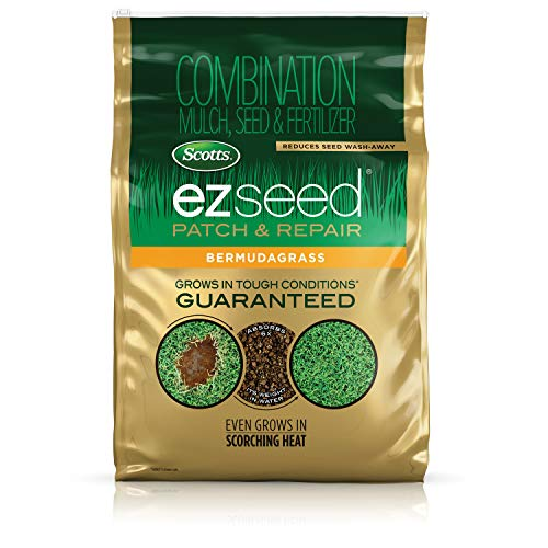 Scotts EZ Seed Patch and Repair Bermudagrass, 20 lb. - Combination Mulch, Seed, and Fertilizer - Tackifier Reduces Seed Wash-Away - Even Grows in Scorching Heat - Covers up to 445 sq. ft.