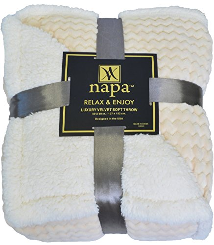 Napa Super Soft Sherpa Throw Blanket Latte Chevron 50