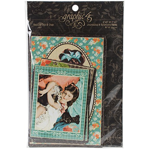Price comparison product image Graphic 45 Raining Cats and Dogs Journaling and Ephemera Cards,  4 by 6-Inch and 3 by 4-Inch