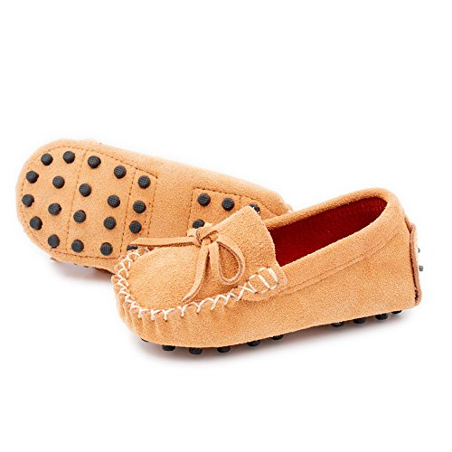 Augusta Baby Leather Loafers Boat Shoes Slip-on Moccasins with Gommino Sole - Safety Certified Genuine Leather - Camel Suede - US Toddler 8