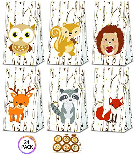 QMZ Woodland Animal Candy bags Party Treat Gift Bags with Stickers - Birthday Baby shower Theme Party Decorations Supplies set of -