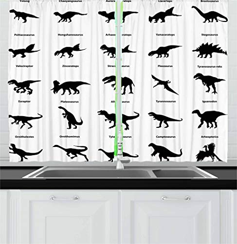Ambesonne Dinosaur Kitchen Curtains, Collection of Different Dinosaurs Silhouettes with Their Names Evolution Wildlife, Window Drapes 2 Panel Set for Kitchen Cafe, 55 W X 39 L Inches, Black White