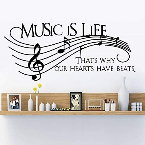 Homefind Musical Notes Walls Decals - Music is Life That's Why Our Hearts Have Beats - Stickers for Kids Bedroom Music Room Dance Room Vinyl Art Décor House Decoration (Black 51.1'' w x 22'' h) by Homefind (Image #3)