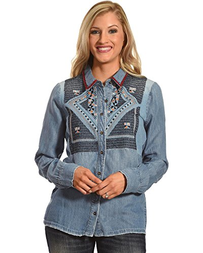 Miss Me Women's Mm Vintage Embroidered Denim Shirt Indigo Large by Miss Me