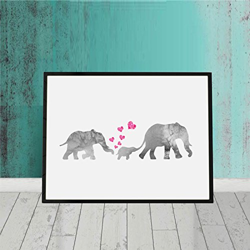 Watercolor Elephant Family Print Art Nursery Elephant Painting Kids Room Wall Print Watercolor Elephant Print Art Baby Love New Born Gift 8x10 inch No Frame