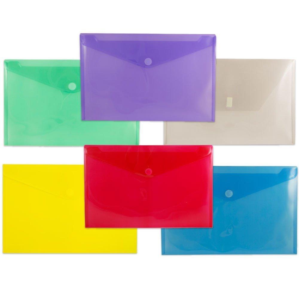 JAM Paper Plastic Envelope Folders with Hook and Loop Closure - Legal Booklet - 9 3/4'' x 14 1/2'' - Assorted Colors - 6/pack