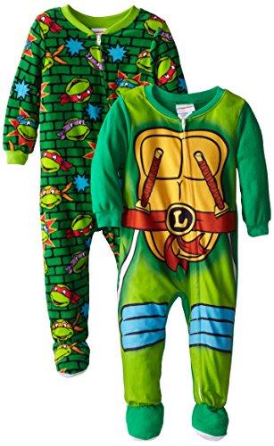 [Teenage Mutant Ninja Turtles Little Boys'  2 Pack Leonardo Costume Footed Blanket Sleepers ,Multi] (Toddler Annie Costumes)