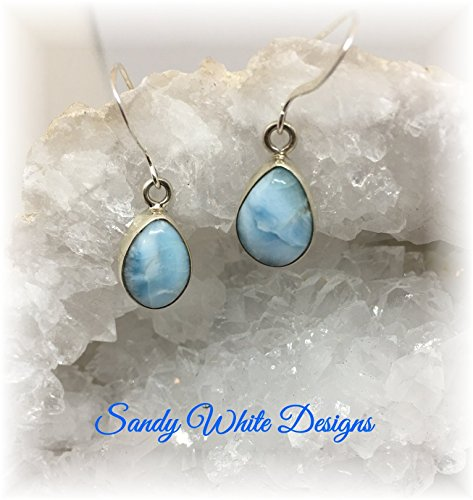 Larimar Earrings Pear Shape AAA Quality Stones Set in Sterling Silver (Larimar Pear Ring)