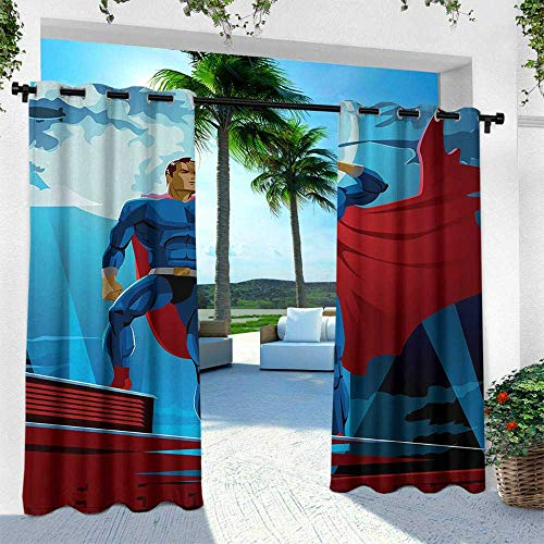 Hengshu Superhero, Exterior/Outside Curtains,Retro Cartoon Character Hero Saving People from Evil Strong Muscular Man with Cape, W96 x L84 Inch, Blue Red]()