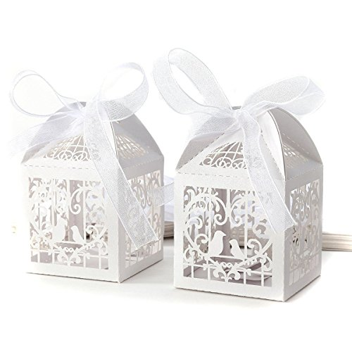 Ewandastore 50 Pcs Love Birds Laser Cut Favor Candy Box B...
