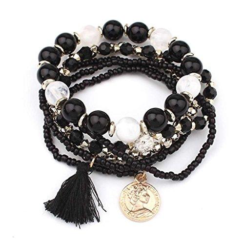 Molyveva Bohemia Wind Beaded Bracelet Women Multilayer Hand Woven Wisdom Coin Tassel Bracelet Jewelry (Black Vermeil Ring)