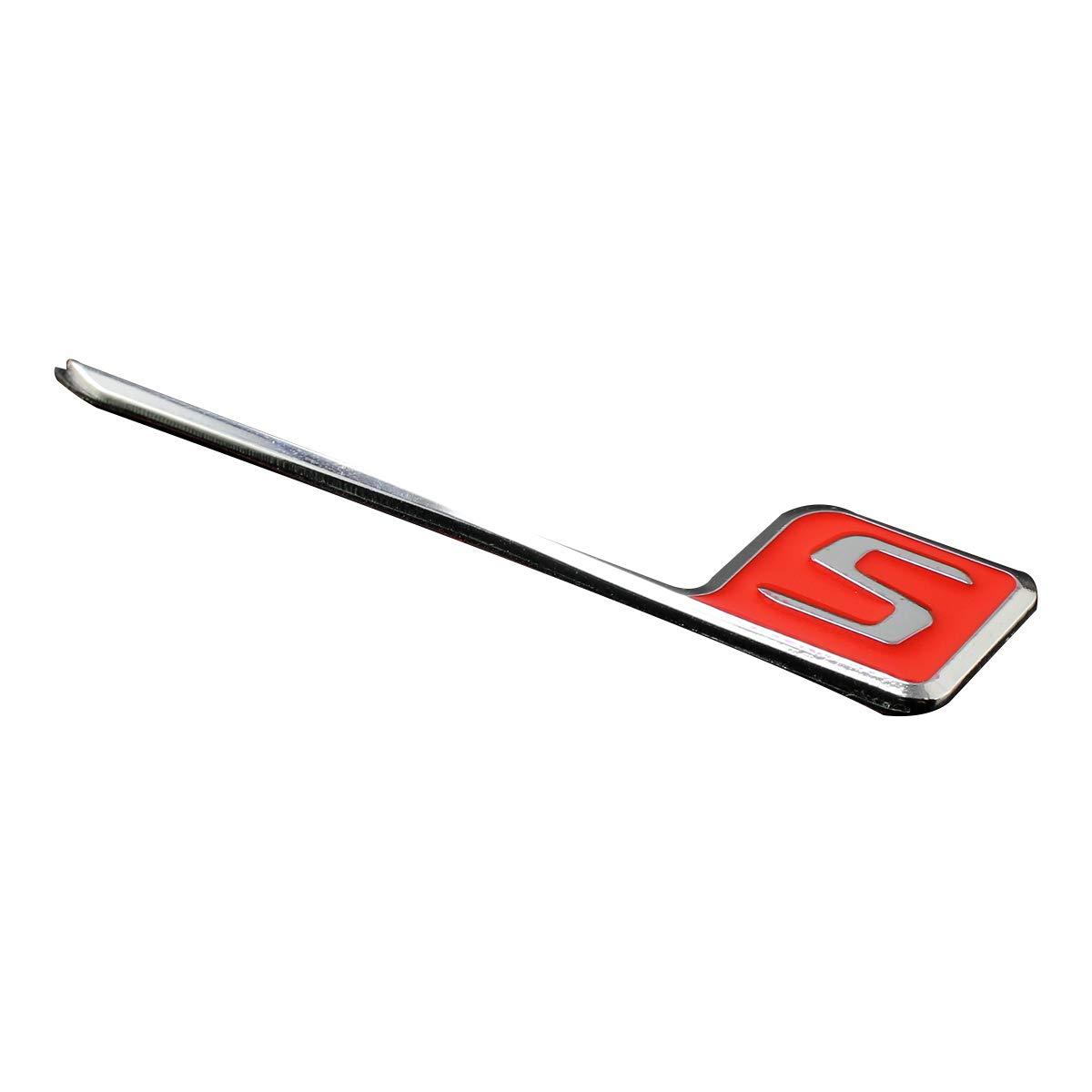 Xotic Tech S Logo Sticker Car Side Fender Rear Trunk Lid Metal Aluminum Emblem Badge for Mercedes Benz AMG GT S63 SLK350 E63 CLS63 1pcs Red Xotic Tech Direct Car Emblem