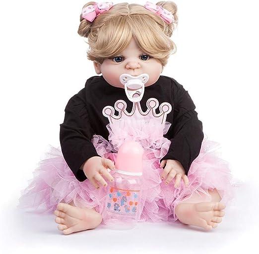 LIULAOHAN Simulacion Baby Doll, Muñeca de Silicona Blanda, muñeca Rubia recién Nacida, Ojos Azules, Camisa Negra, Falda Rosa Niños Mayores de 2 años Crecen Regalo bañándose pa: Amazon.es: Hogar