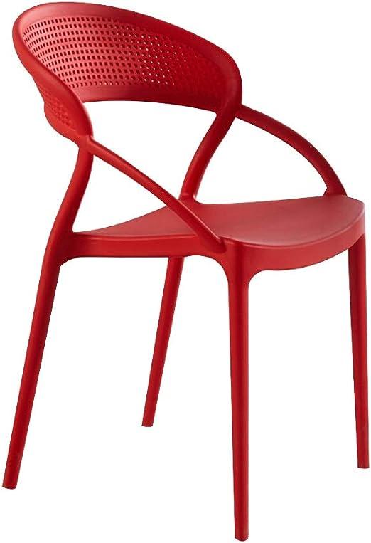 Sillas de jardín de plástico, estilo taburete perezoso, restaurante de estilo nórdico, silla de plástico, moderno, moderno, adulto, creativo, red, grueso, respaldo, silla de comedor, silla de escritor: Amazon.es: Hogar
