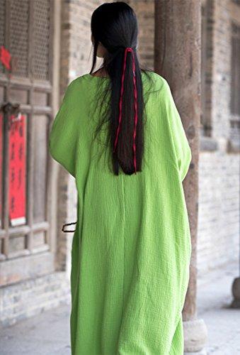 Happy Larga Holgada Cherry Vestido Ancha Primavera Verano Verde para Otoño Suave Túnica Mujer Maxi Transpirable BSCBrFx