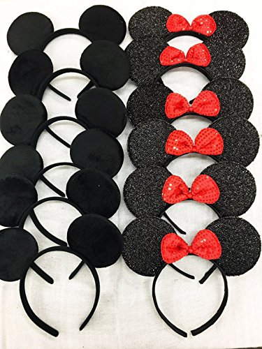 Mickey Mouse Headband Ears - 12pcs Mickey and Minnie Mouse Inspired Headband Ears Birthday Party favors or Disney Trip