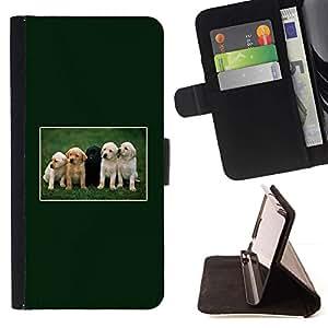 Momo Phone Case / Flip Funda de Cuero Case Cover - Verdes cachorros Labrador Retriever Negro; - Apple Iphone 4 / 4S