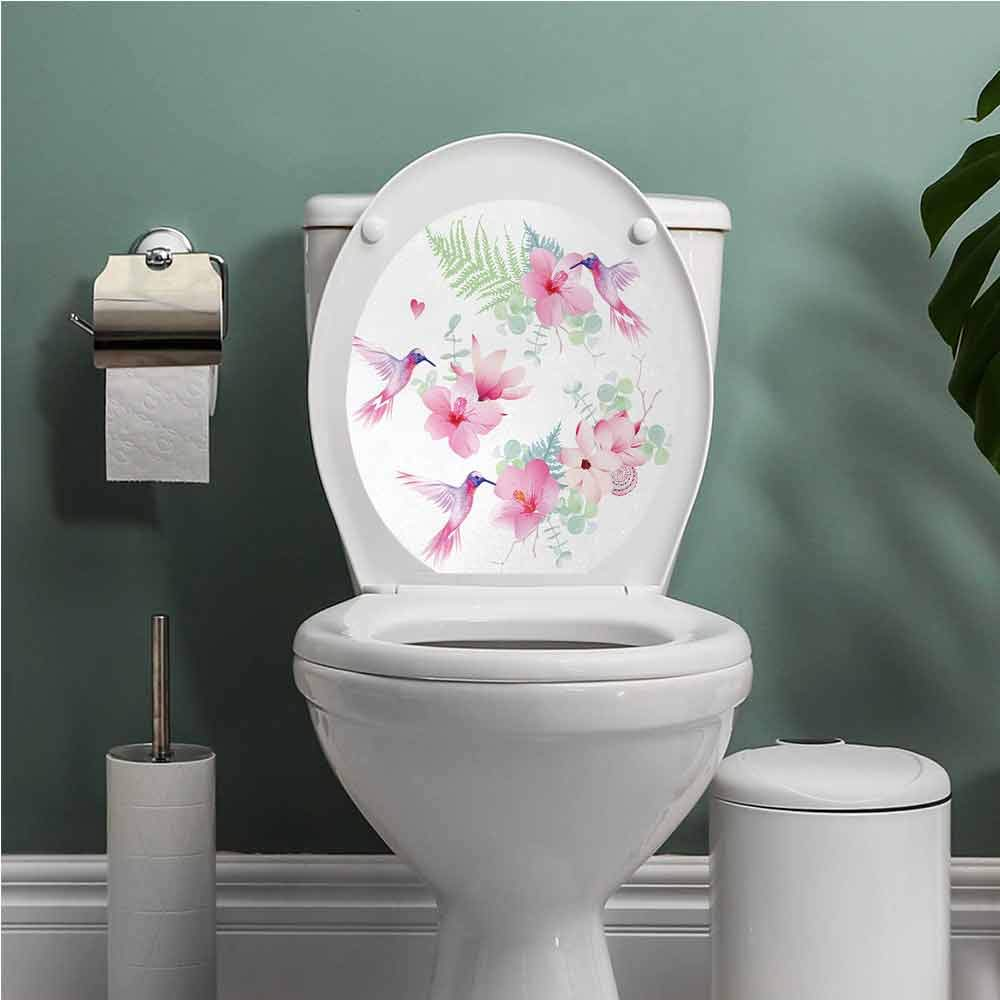 Muyindohome Hummingbirds Toilet seat Sticker Decal Tropical Flowers with Flying Hummingbirds Wild Nature Blooms Toilet Decoration Pale Pink Pale Green Purple W13XL16 INCH by Muyindohome