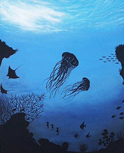 amazon com ocean reef aquatic life silhouette painting original