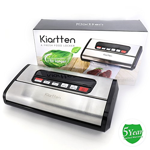 Kiartten Vacuum Sealer, A Fresh Food Locker for Your Kitchen. Keeps Food Fresh Up To 5X Longer. (Stainless Steel) by Spreaze (Image #1)'