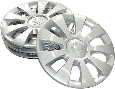 Skoda 657071455 Radzierblenden 4 Stück Radkappen Hermes 15 Zoll Radblenden Für 6jx15 Et35 Stahlfelgen Silber Auto