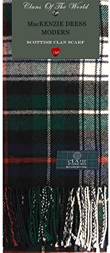 MacKenzie Dress Modern Tartan Clan Scarf 100% Soft Lambswool
