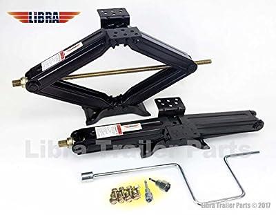 "Set of 2 5000 lb 24"" RV Trailer Stabilizer Leveling Scissor Jacks w/handle & Power Drill Socket & hardware -part#26020"