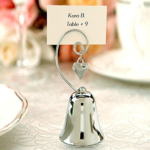 72pcs Charming Chrome Bell Place Card Holder with Dangling Heart Charm