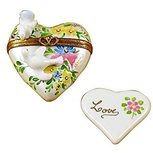 HEART W/TWO DOVES - LIMOGES BOX AUTHENTIC PORCELAIN FIGURINE FROM (Dove Porcelain)