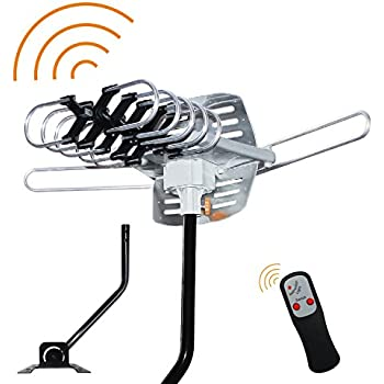 Outdoor HDTV Antenna, OHAYO 150 Miles Range TV Antenna with 360° Rotation in Infrared Control 33Ft Detachable Cable Rooftop Antenna