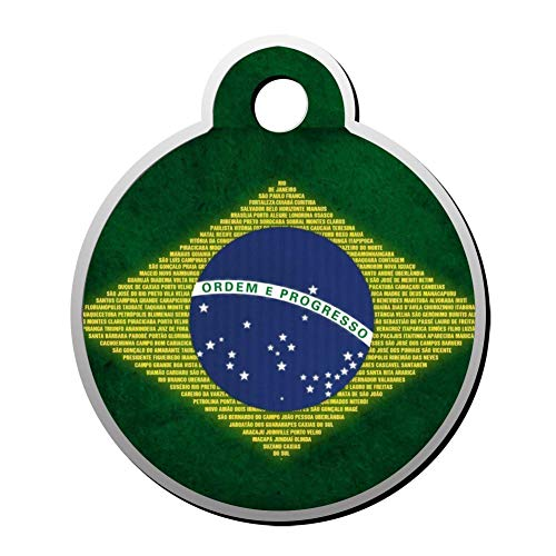BSARRE Custom ID Pet Tag Double Sided Stainless Steel Necklaces Dog Tag Round Bandeira Brasil (Custom Sonnenbrillen Frames)